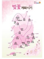 벚꽃 개화 평년보다 1~6일 빠르고 작년보다 2, 3일 늦을 듯