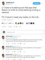 """[비트코인] 찰리 리 """"중국의 채굴.네트워크 금지 없을 것""""...라이트코인 창시자"""
