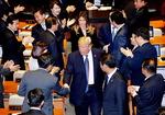 한국에 찬사, 북한 인권 분노…FTA 언급 없었다