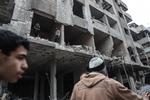 공습으로 폐허가 된 시리아