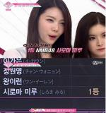 '프로듀스48' 시로마 미루, 댄스 팀 1위...한국 연습생들 제쳐