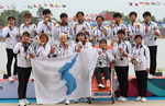 한반도기에 아리랑…카누 용선 남북 단일팀 금메달