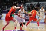 남북단일팀 중국 아시안게임 여자 농구 2쿼터 38-38
