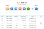 로또 827회 당첨번호 발표…서울 중랑구 '갈렙분식한식' 1등 5게임 나왔다