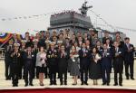 우리나라 해군의 첫 훈련함 한산도함 울산서 진수