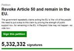 영국 브렉시트 취소 청원 서명자 530만 명 넘어