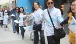 한반도 평화 염원…남북 유엔대표부 '인간띠 잇기' 행사