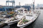 한진중공업, 해경 경비정 5척 통합 진수식