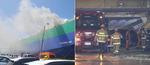 울산 현대자동차 수출용 이송선에 불…차량 30여 대 소실