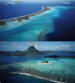 타히티 보라보라섬 아름다운 경관 '에메럴드 빛 바다 예술'