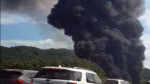 [영상] 청주 전자제품 공장서 화재, 하늘 뒤덮은 검은 연기
