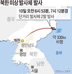 북한, 올 10번째 단거리 발사체 2발 내륙횡단 최대 330㎞ 비행