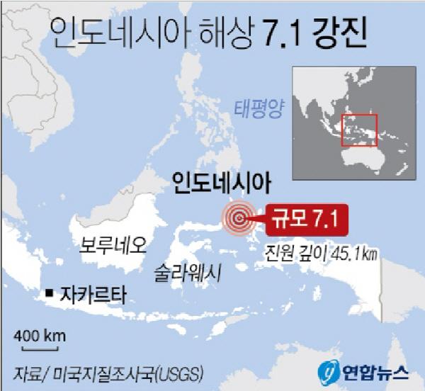 인도네시아 북몰루카 해상 7.1 강진…쓰나미 경보 후 해제