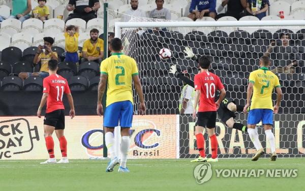 한국 브라질에 3-0 패배… '상대전적 1승5패' 손흥민·권창훈 아쉬운 슈팅