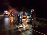 남해고속도 달리던 레저용 차량서 화재