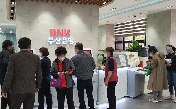 동백전에 비친 '디지털 소외'…부산은행 발급창구 고령자 북적