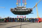 현대중공업 국내 최대 9100t 초대형 해양설비 한 번에 인양 성공