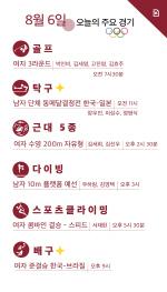 [카드뉴스] 8월 6일 올림픽 주요 경기